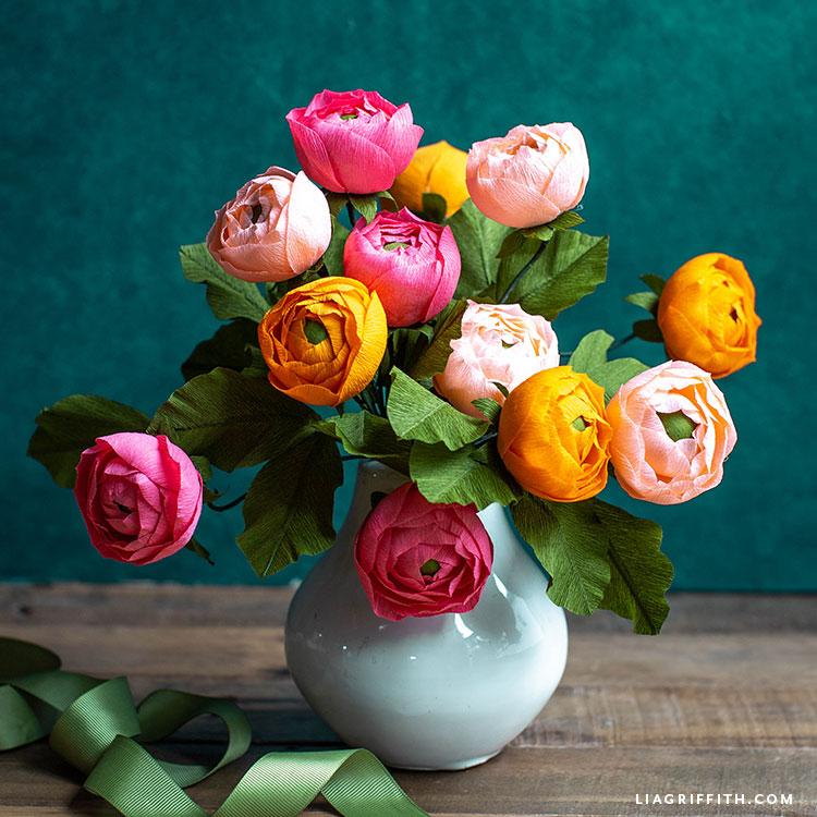 DIY flower arrangement with crepe paper ranunculus blooms