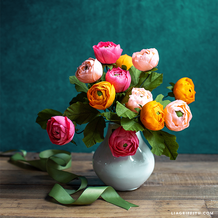 beautiful crepe paper ranunculus flower arrangement in vase