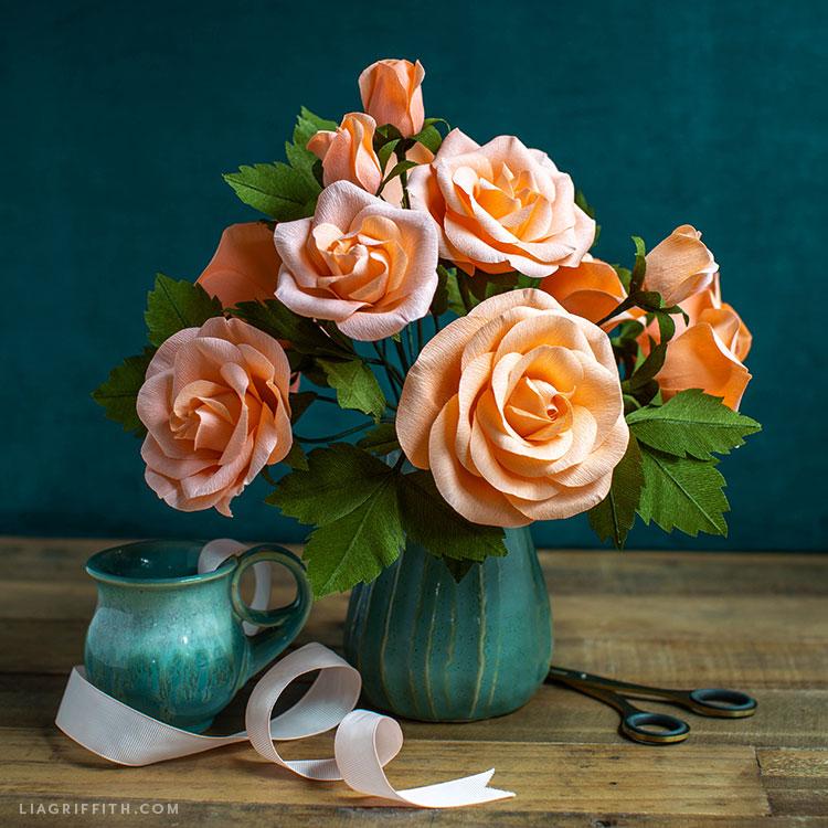 DIY crepe paper rose arrangement