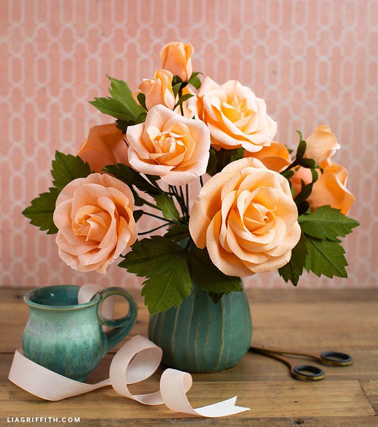 crepe paper rose arrangement