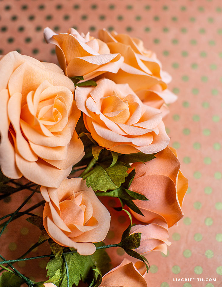 beautiful roses made out of double-sided crepe paper