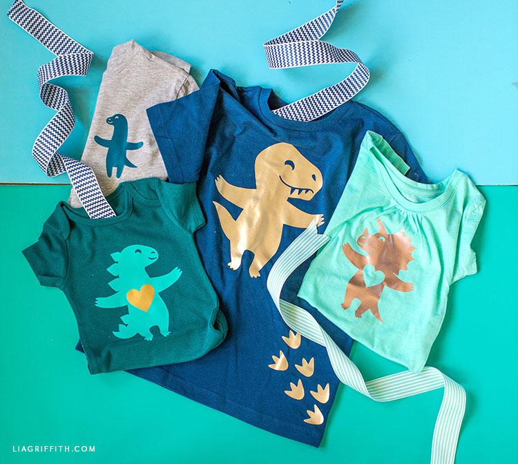 DIY dinosaur t-shirts and onesie