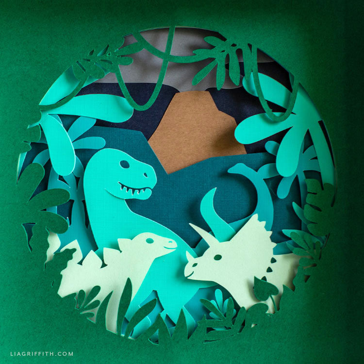 papercut dinosaur artwork