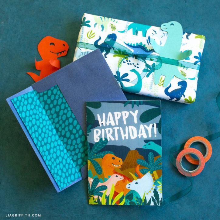 dinosaur birthday card and present