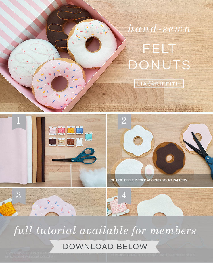 DIY step by step photo tutorial for felt donuts by Lia Griffith