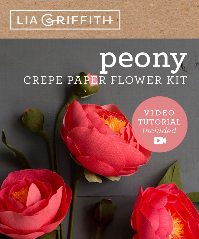 crepe paper peony flower kit by Lia Griffith