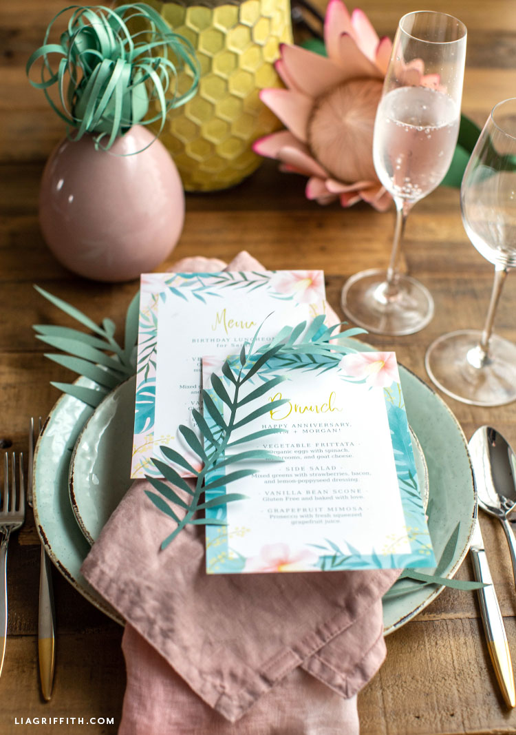tropical place settings