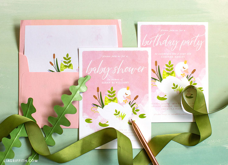 DIY baby shower invitation and birthday party celebration with pink envelope and green ribbon