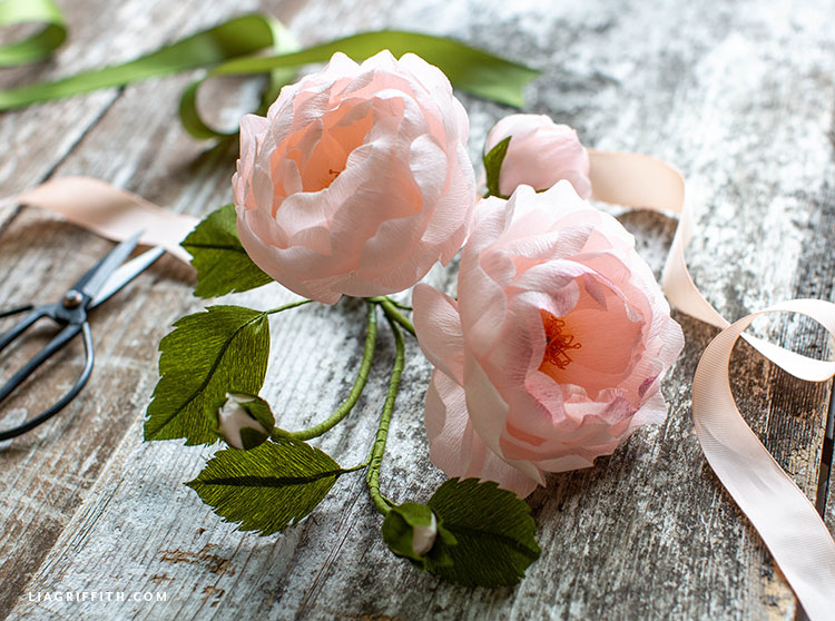 Pink crepe paper heirloom roses on wooden table with pink and green ribbon