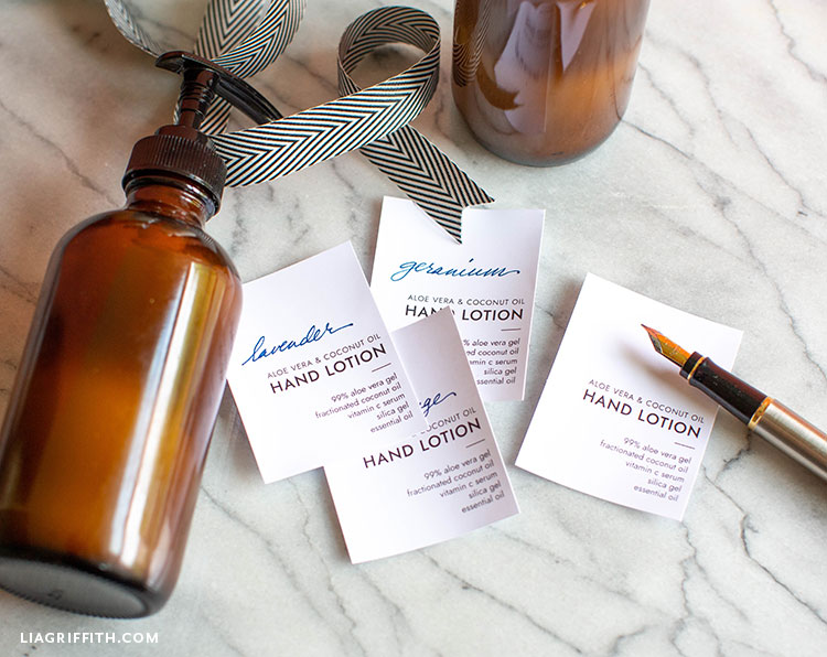 Homemade lotion with hand lotion labels