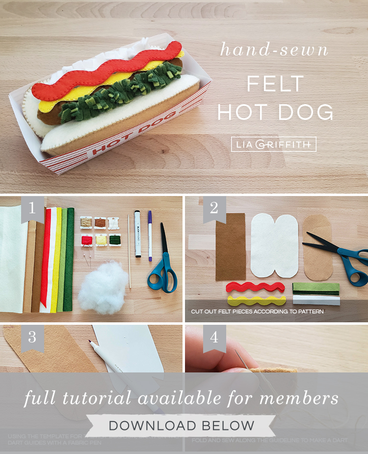DIY step by step photo tutorial for handsewn felt hot dog by Lia Griffith