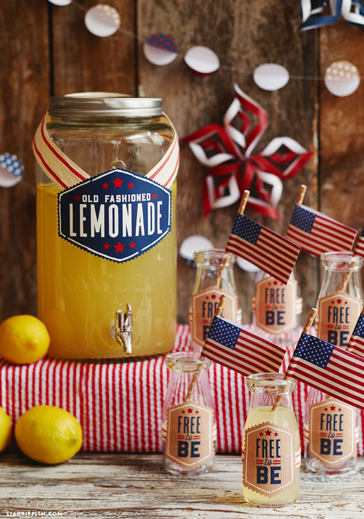 old fashioned lemonade with glass bottles and flag straws