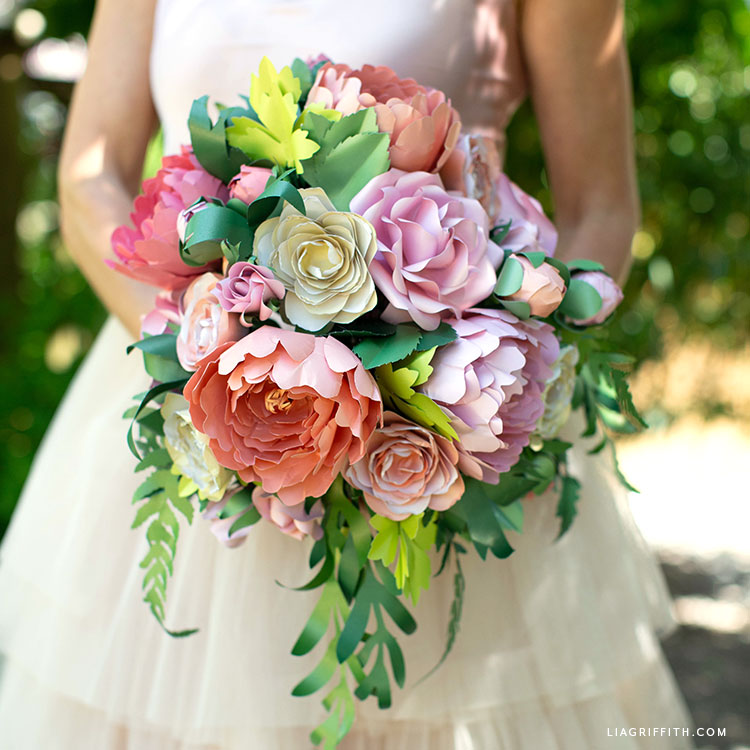paper flower vintage garden wedding bouquet arrangement