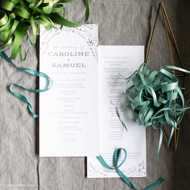 rustic wedding programs and paper air plants