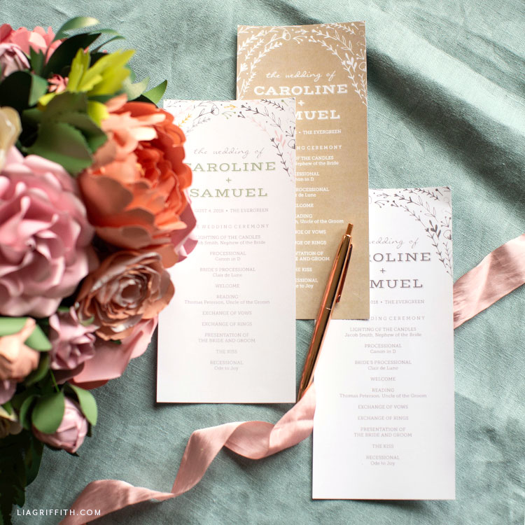 rustic wedding programs and paper flower vintage bridal bouquet