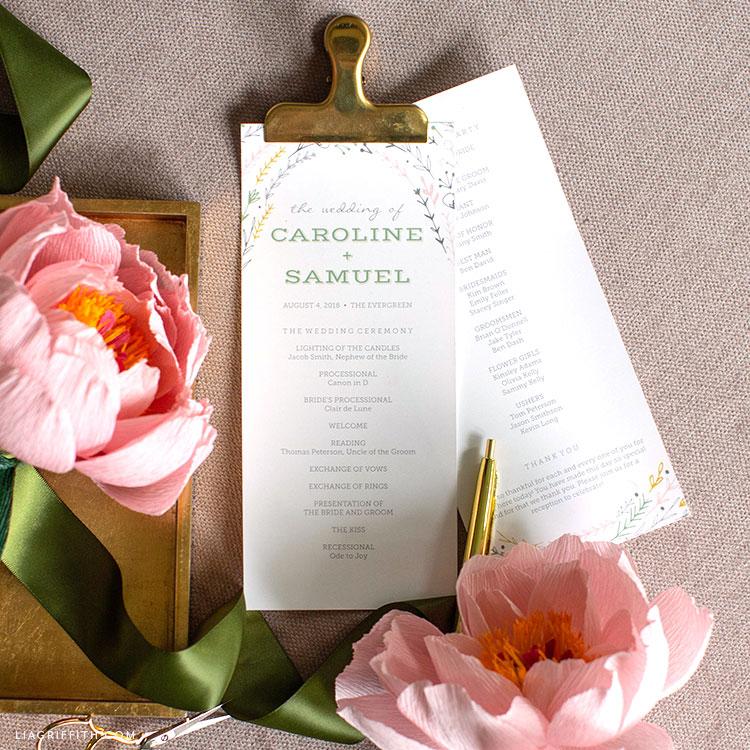 DIY rustic wedding programs and paper peonies