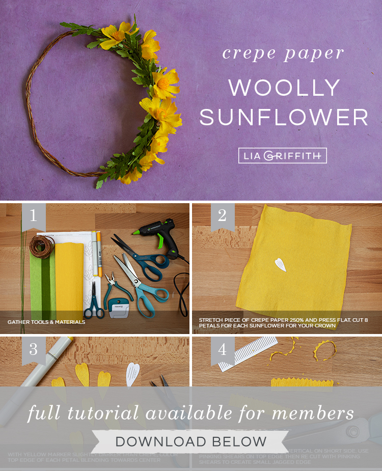 DIY step by step photo tutorial for crepe paper woolly sunflower head wreath