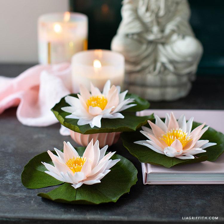 DIY crepe paper water lilies