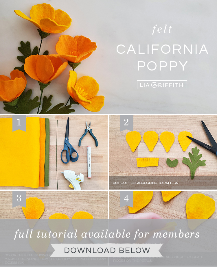 DIY step by step photo tutorial for felt California poppies by Lia Griffith