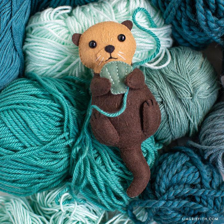 handsewn felt sea otter stuffie