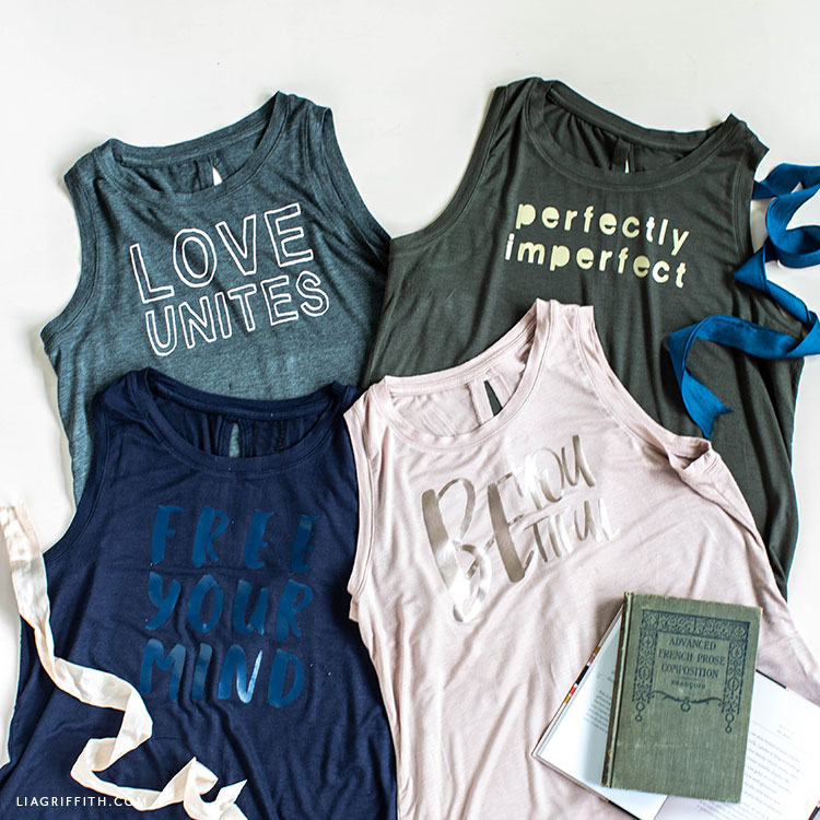 Tanks with DIY iron-on designs featuring short inspirational quotes