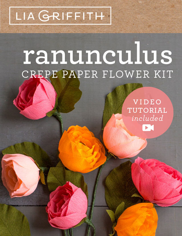 crepe paper ranunculus flower kit by Lia Griffith