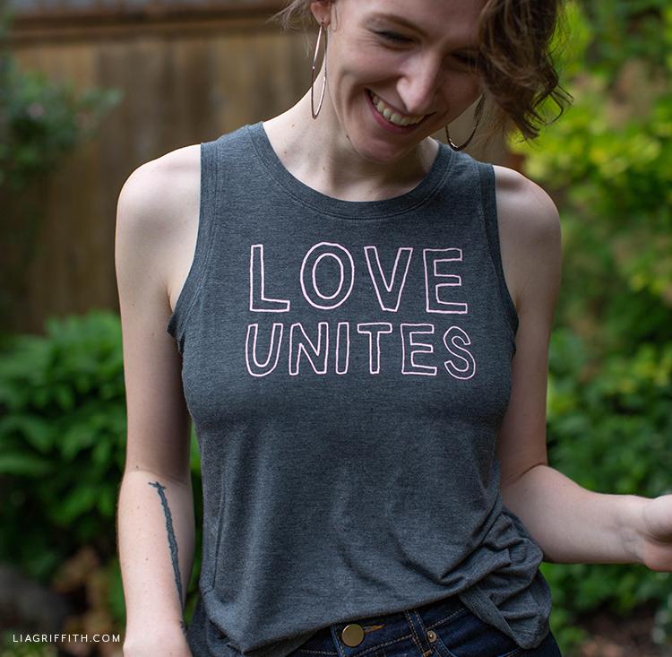 """Love Unites"" iron-on tank"