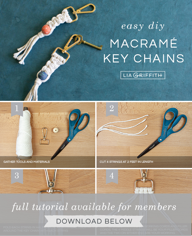 DIY photo tutorial for macrame key chain by Lia Griffith