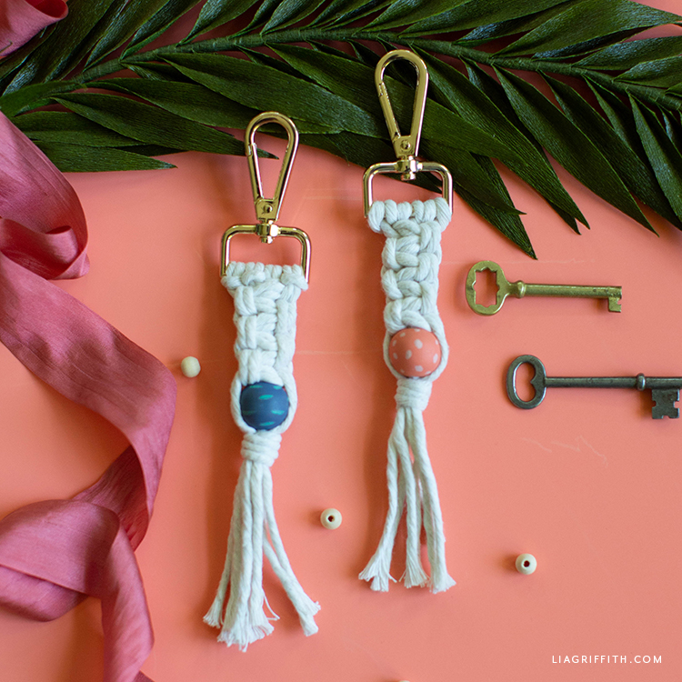 DIY macrame key chains with painted wood beads