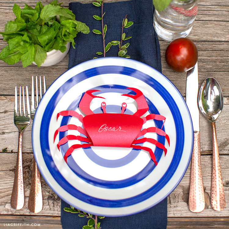 paper crab place card with nautical table settings