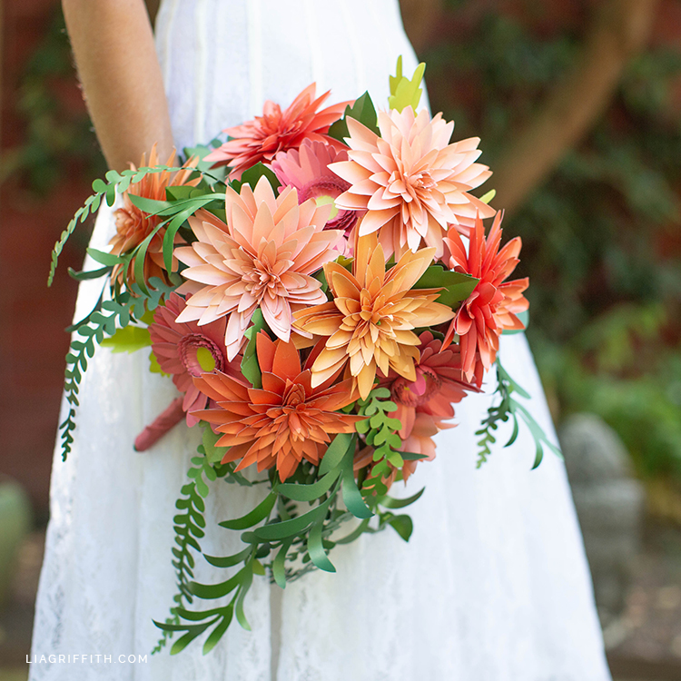 paper dahlia and daisy wedding bouquet