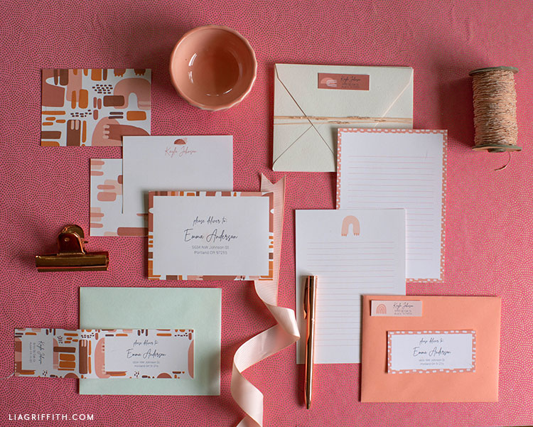 printable note cards, labels, and envelopes