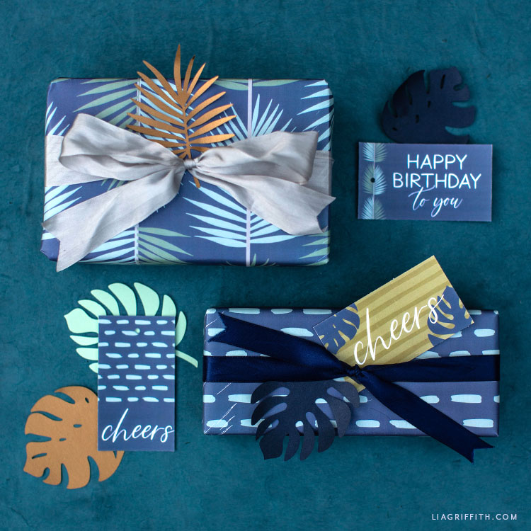printable tropical wrapping paper and gift tags
