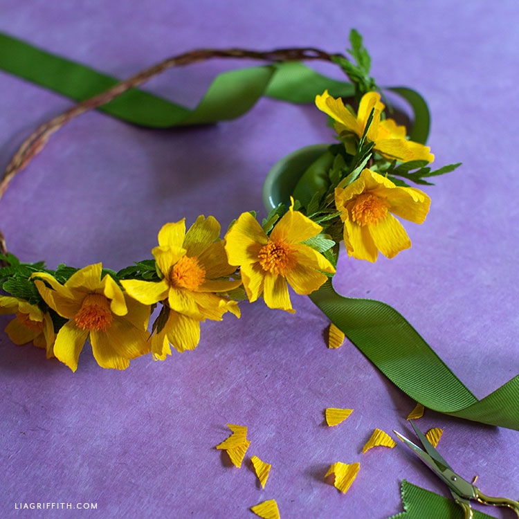 crepe paper woolly sunflowers on head wreath