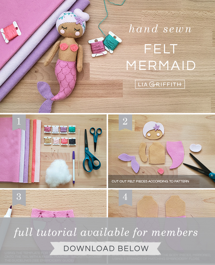 photo tutorial for hand-sewn felt mermaid doll by Lia Griffith