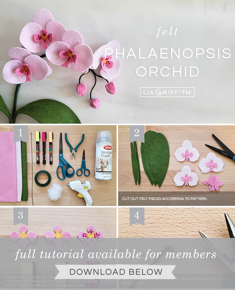 DIY photo tutorial for felt orchid by Lia Griffith