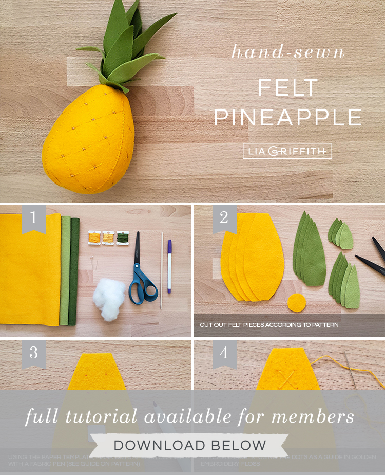Photo tutorial for felt pineapple by Lia Griffith