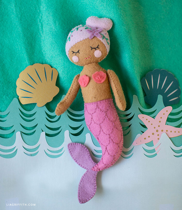 DIY felt mermaid doll with papercut shells and starfish