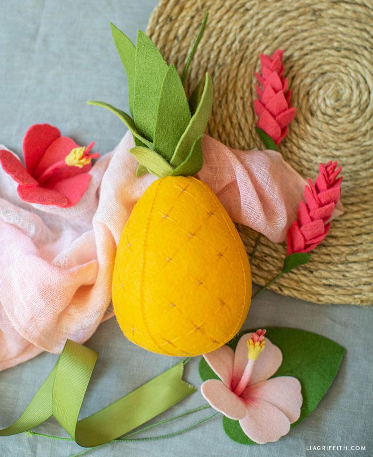 DIY felt pineapple with felt hibiscus and felt ginger flowers