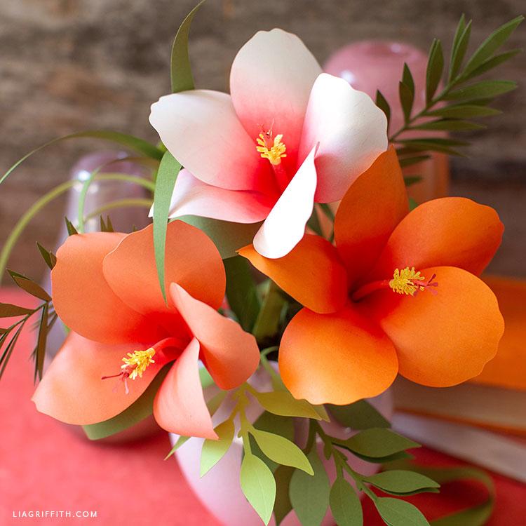 paper hibiscus flower arrangement