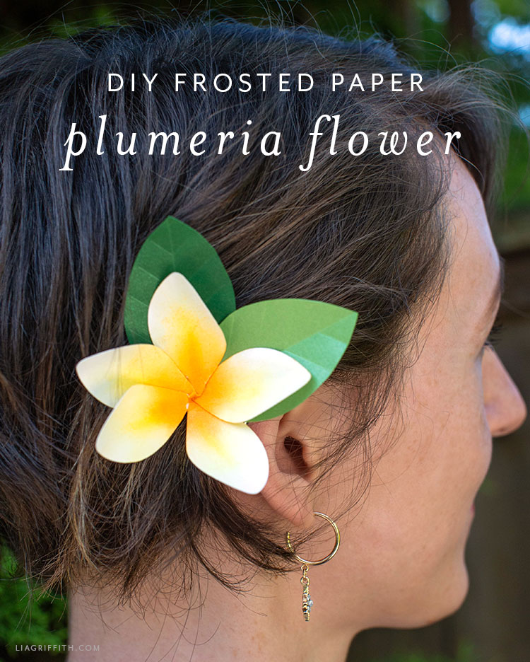 frosted paper plumeria flower hair accessory