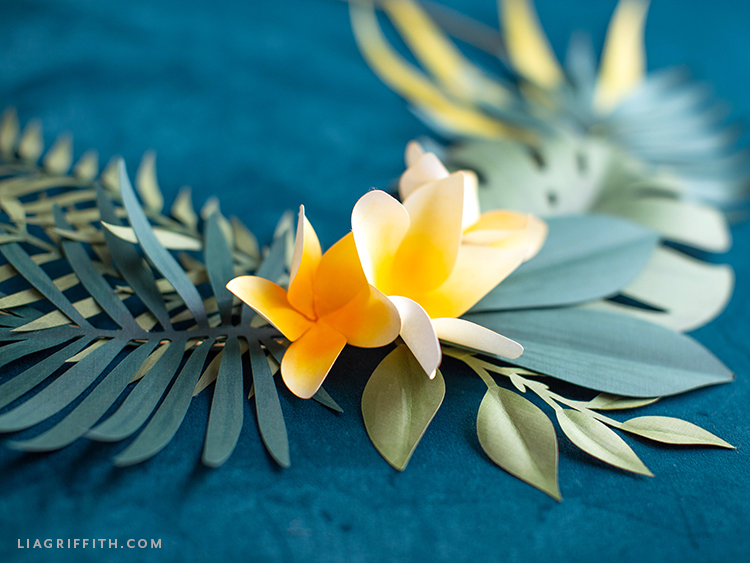papercut tropical flowers and leaves
