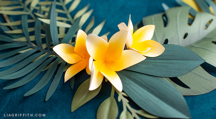 frosted paper plumerias with tropical leaves