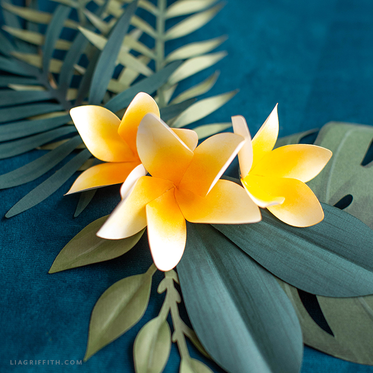 handmade paper plumerias and tropical leaves