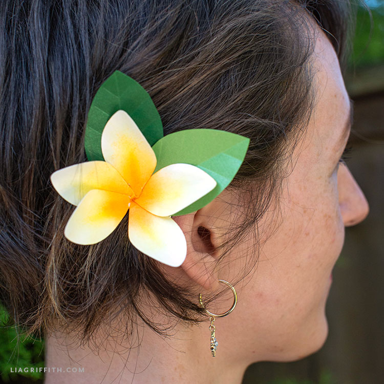 frosted paper plumeria hair accessory