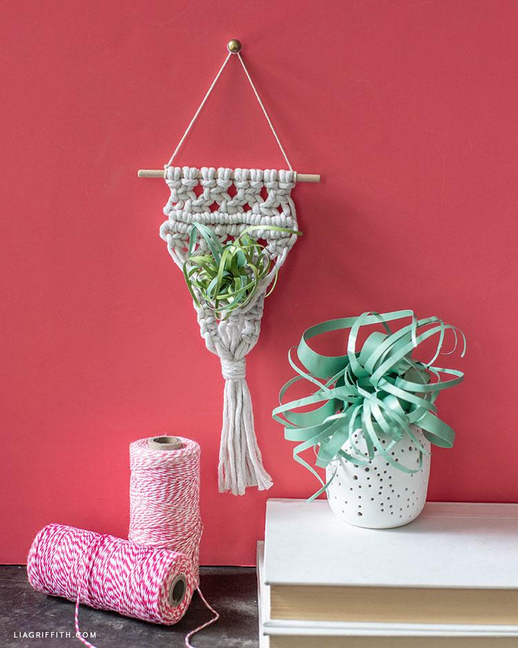 handmade macrame air plant holder