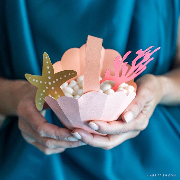 paper seashell treat basket
