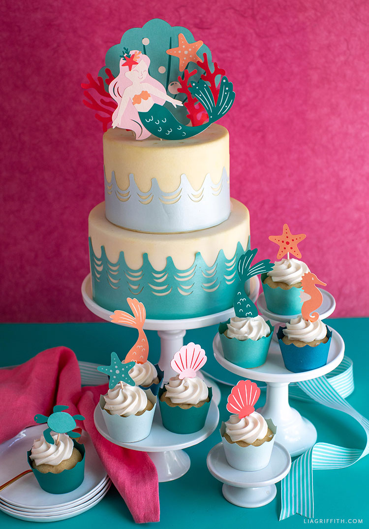 DIY mermaid cupcake toppers and cake topper