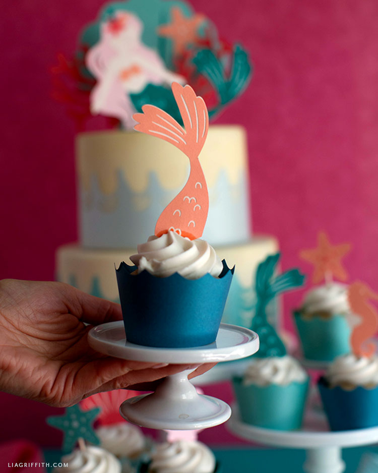 papercut mermaid tail cupcake topper