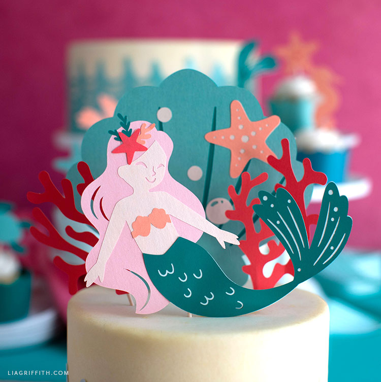 papercut mermaid cake topper